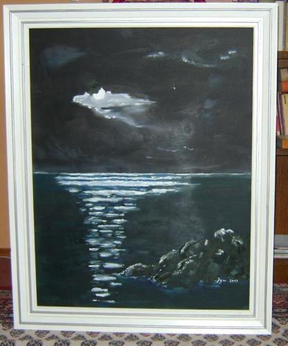 Schilderij Maan boven Zee