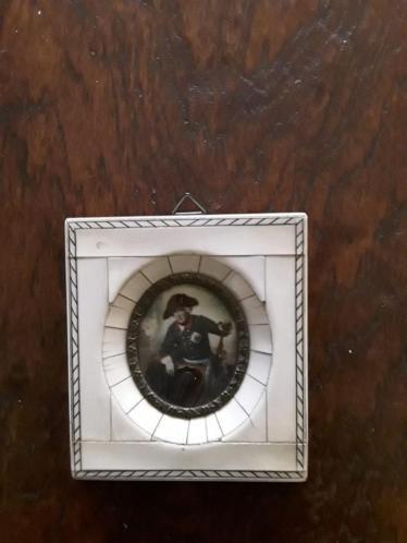 Ivoren Miniatuur Schilderij Frederik de Grote van Pruisen