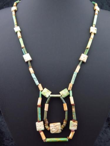 Necklace made of Egyptian faience mummy beads and 13 Eye of