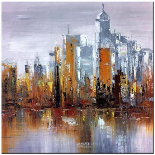 Skyline olieverf schilderij 100x100cm