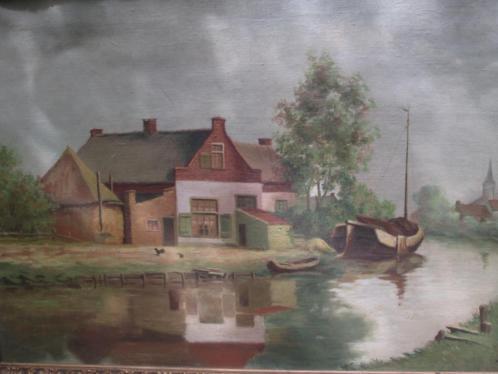 Olieverf op Doek Boerenerf met Kerkje en Tjalk 60 x 80