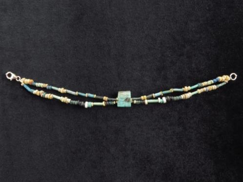 Bracelet of Egyptian faience mummy beads and Eye of Horus or