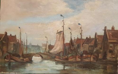 doek, 26 x 41, Hollandse haven, C. van Waning 1861 - 1929