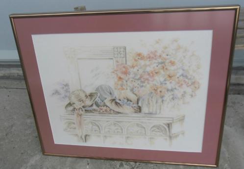 schilderij geborduurd zomer boeket bloemen / hoeden, viool