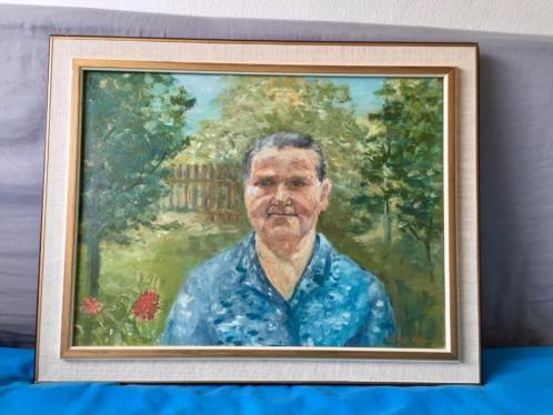 Portret van een oudere dame,olieverf op doek.