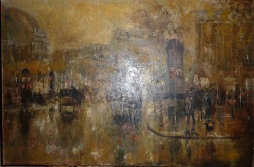 Schilderij Stad op regenachtige avond