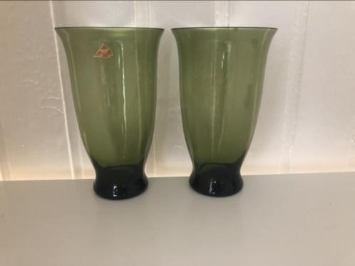 Set groene Leerdam bekers glazen
