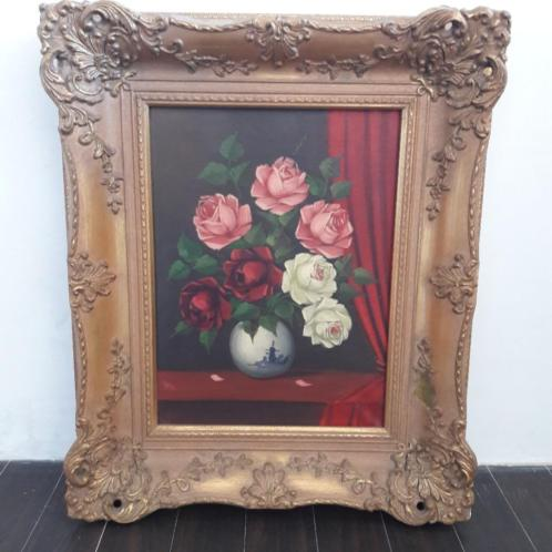 Bloem stilleven schilderij op linnen gesigneerd oud rozen