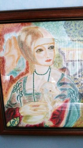 '' MADONNA met Hermelijn '' Prachtig Pastel Werk .