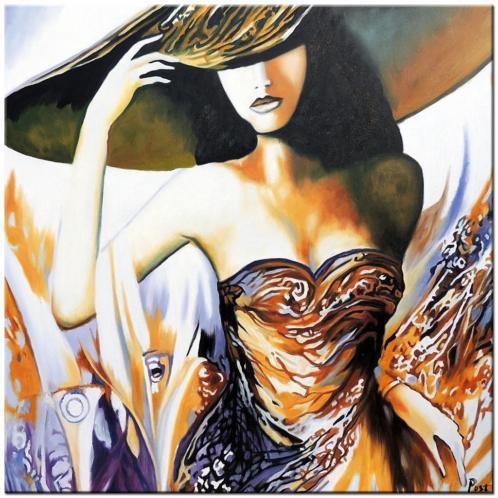 d722 Dame met Hoed olieverf schilderij 100x100cm