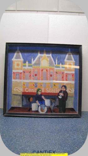 9721 - schilderij Joop Willems CS Amsterdam 1989 - €75
