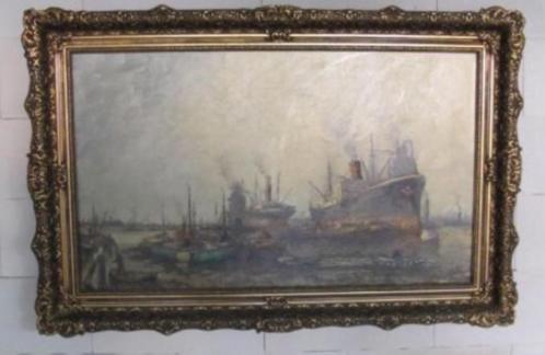 Schilderij Willem Bos haven gezicht Rotterdam olieverf doek