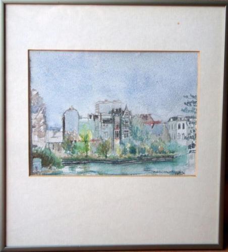 Fraaie aquarel van de Vijzelgracht in Amsterdam Heike Rabe