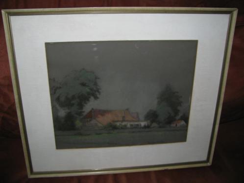 Leo Niehorster (1882-1957), krijttekening, boerderij