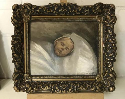Heel oud baby schilderijtje