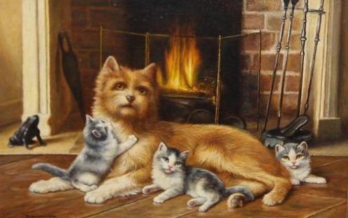 Bert Notenboom 1942-201 Haardvuur/3 Kittens/Hond/Int.