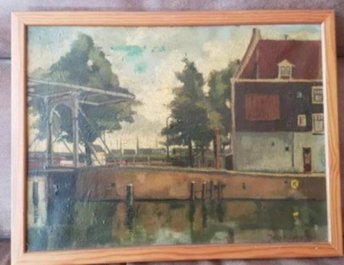 Olieverf Jelte Kuipers 1944 zoutkeetsgracht Amsterdam