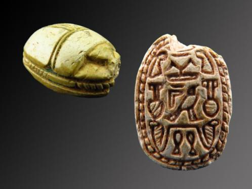Egyptian steatite scarab with decorations of Hathor, Justice