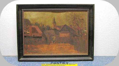 9742 - schilderij op karton dorpsgezicht met kerk - € 25