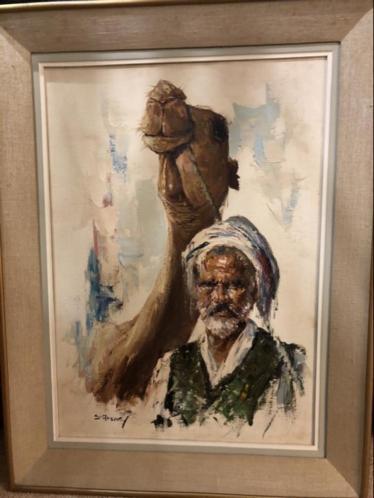 Geweldig schilderij Cyrus Afsary 1940 Arabier met kammeel