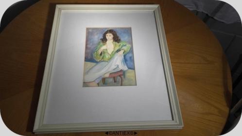 1317 - aquarel vrouw op stoel - Henk Bloemer - € 10