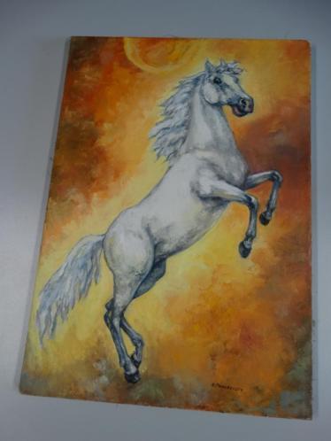 Schilderij wit paard