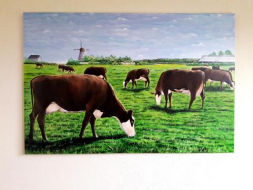 Groot schilderij Koeien / koe , nieuw