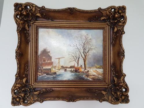 Schilderij met winters tafereel