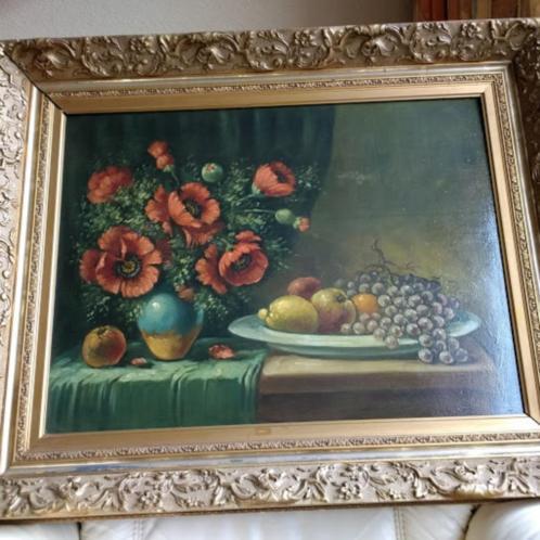 schilderij stilleven van P Fleur op paneel