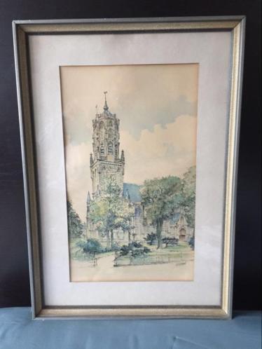Pentekening aquarel grote kerk Elst Gelderland Hermans
