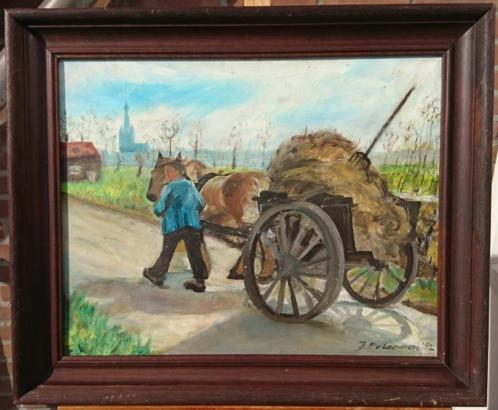 Jan Pieter van Leeuwen (1943-1992), boer met paardenkar 1982