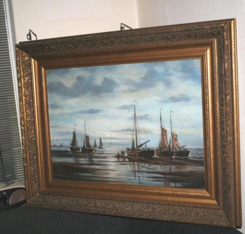 kolossale grote oud maritiem schilderij bomschuiten gesignee