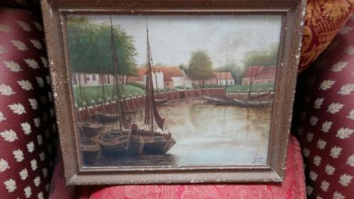 Oud schilderij 1946 gesigneerd JT vintage