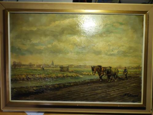Schilderij landschap met paarden C.J. Eekman