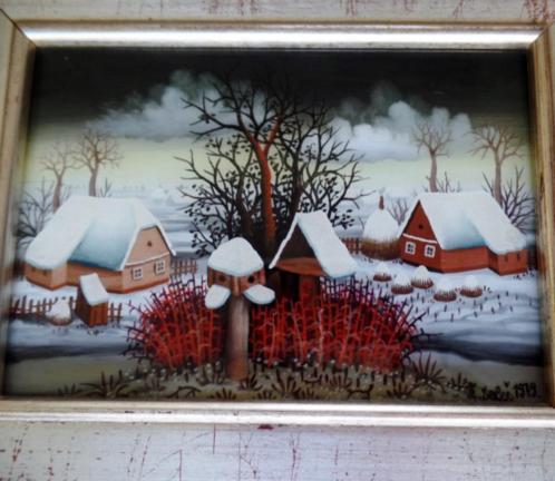 Schilderij Zeljko Seles (born 1954) achter glas geschilderd