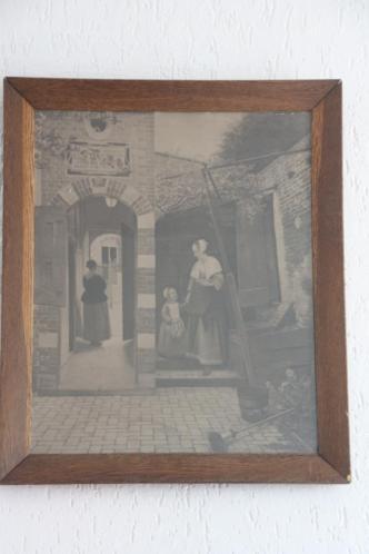 Antiek eiken lijst met antieke repro Pieter de Hooch 1926
