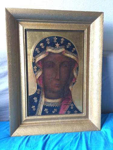 Schilderij van de zwarte Madonna van Czestochowa op ijzer.