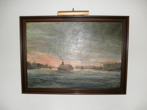 Prachtig Olieverfschilderij van ROTTERDAMSE haven+sierlijst