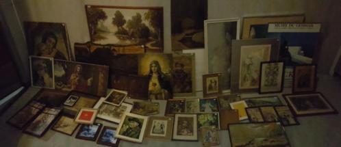 Partij schilderijen prenten lijsten religieus diversen