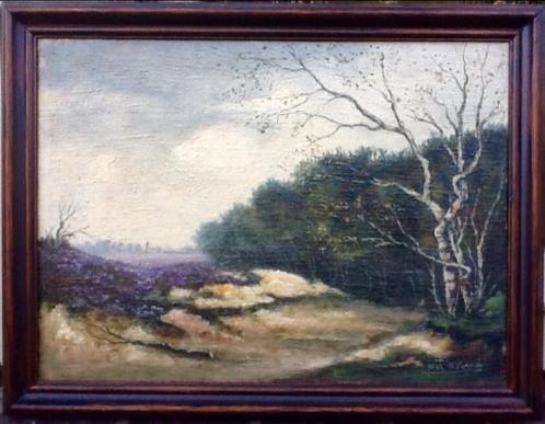 Henk Nyland. Goed geschilderd landschap met kerkje.