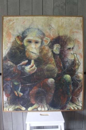 GVC (monogram), Olie op doek; 87x102 Chimpansees