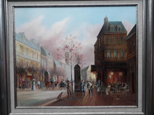 Parijs stadsgezicht van John Haanstra olieverf op paneel