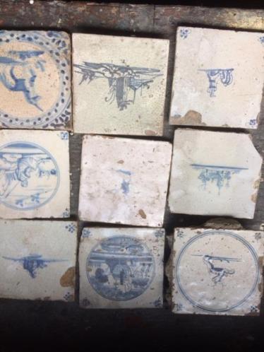 Antieke blauwe tegeltjes 25 stuks