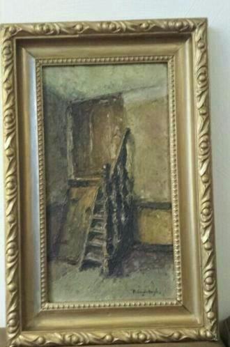 Olieverfschilderij op paneel trap naar opkamer Bergh