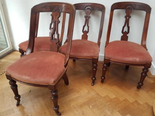 1870 Engelse mahonie stoelen, set van 4, zitten heerlijk