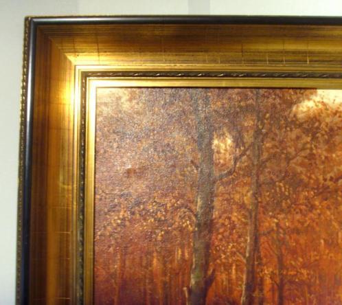 Groot brocante schilderijlijst met Boslandschap reproductie