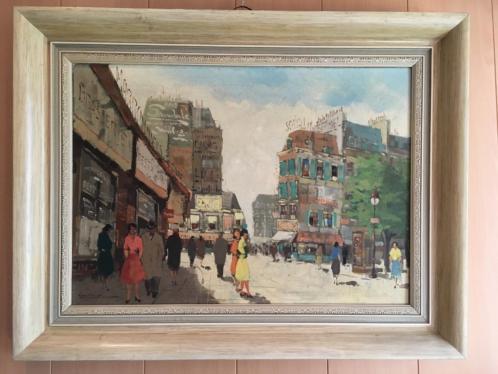 Olieverf schilderij Parijs jaren 60.