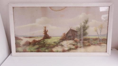 Schilderij, heidelandschap, oud