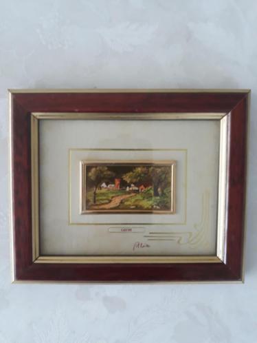 GoldArt schilderijtje -geschilderd op 18K gouden achtergrond