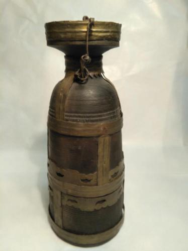 Antieke houten flacon/fles met stop.